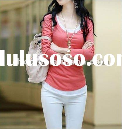 Fashion women cotton red o-neck long sleeve T-shirt with vest