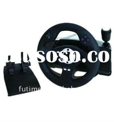 For PS3/PS2/PC 3 In 1 wireless Steering Wheel Controller For PS2 Wireless Vibration Steering Wheel--