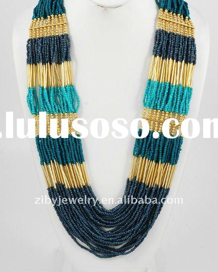 Gold Tone / Turquoise & Navy Seeds Beads / Multi Strand Necklace