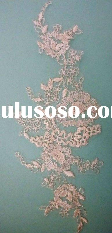 Ivory Delicate Floral Design Corded Lace Fabric Bridal