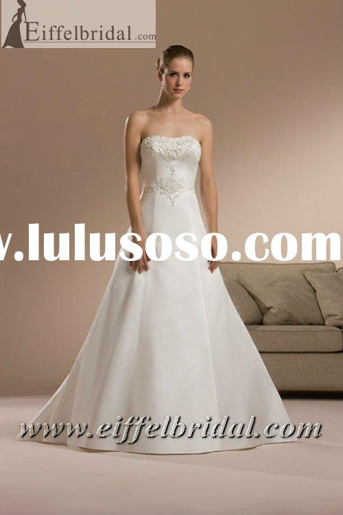 KR-3303 Lace Bust and Waist Design A Line Satin Bridal Wedding Dress
