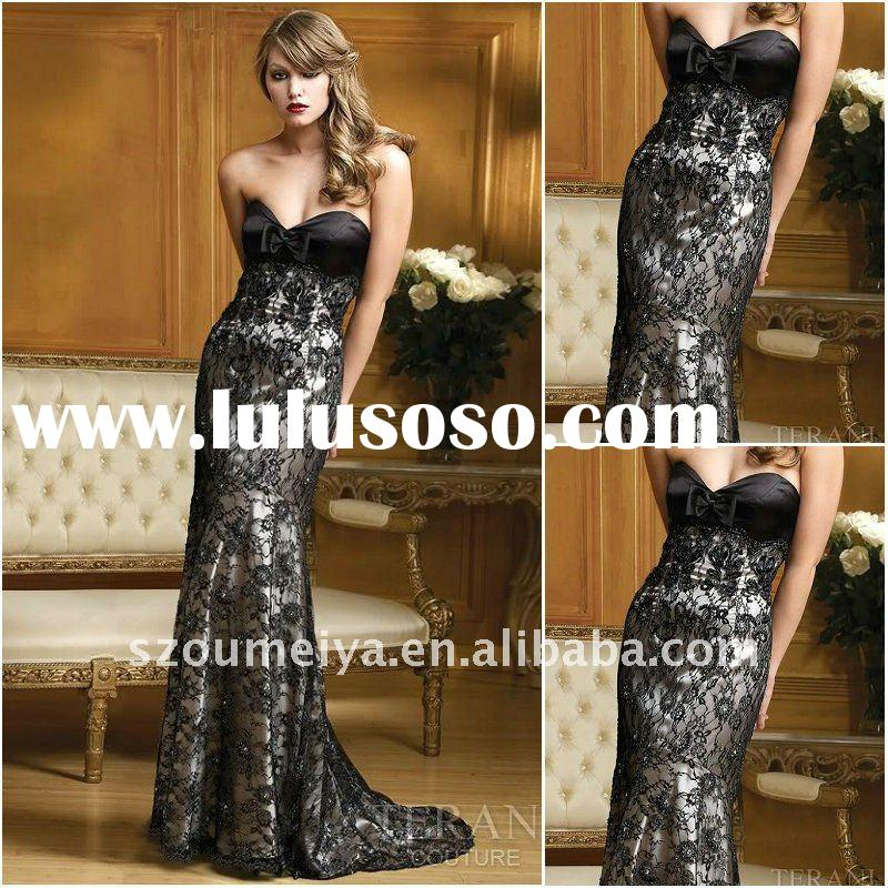 LF0056 elegant black lace long evening dress/ prom dress