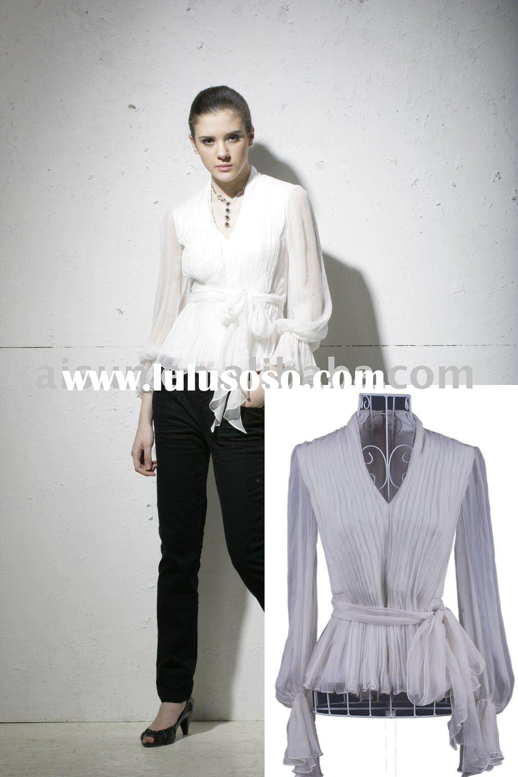 Ladies' fashion silk crinkle chiffon woven shirt with long sleeve and v-neck