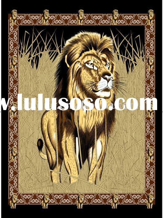 Lion printed polyester polar fleece blanket
