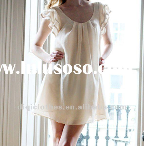 Lotus leaf sleeve white chiffon casual dress for young lady
