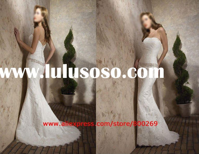 Mermaid Wedding dress gown dropped waist lace sl-832