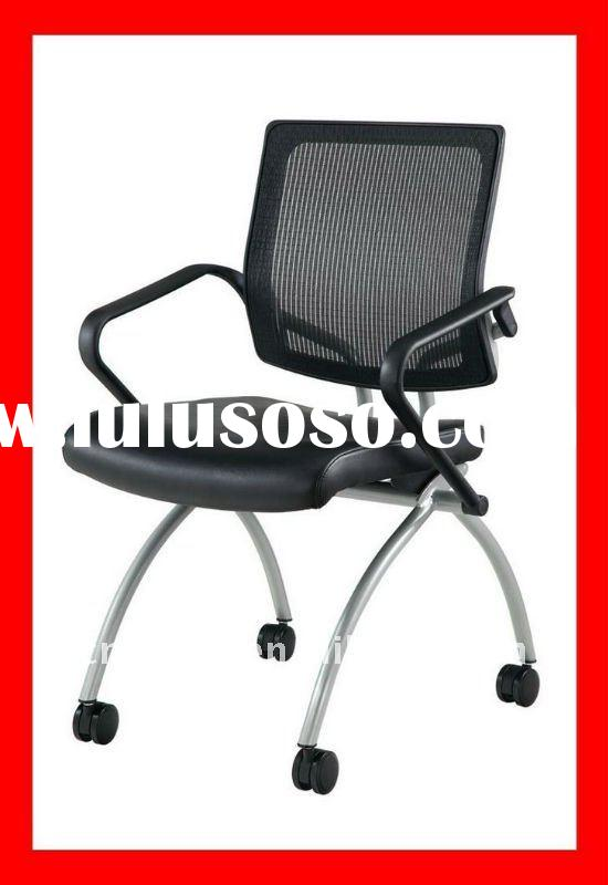 Mesh back stackable office training room chair & visitor chair with caster and fabric seat