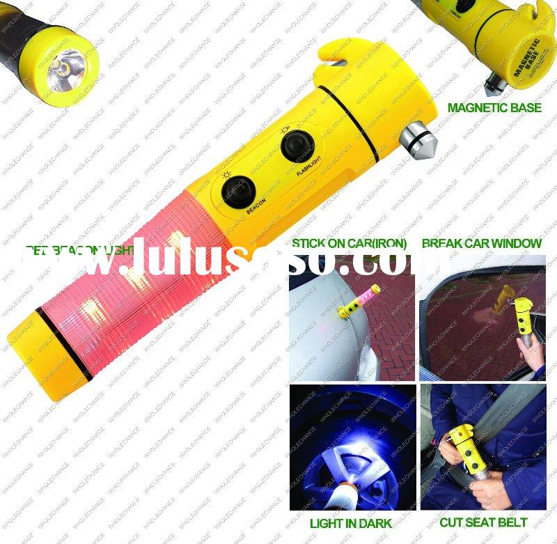 Multifunctional Car Emergency LED Flashlight with Beacon, safety hammer and safety belt cutter-Promo