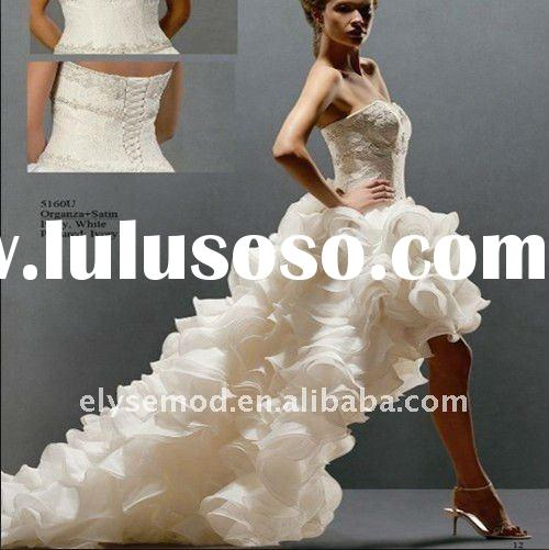New Fashioned Sweetheart Beaded Ivory Organza Front Short and Long Back Wedding Dress