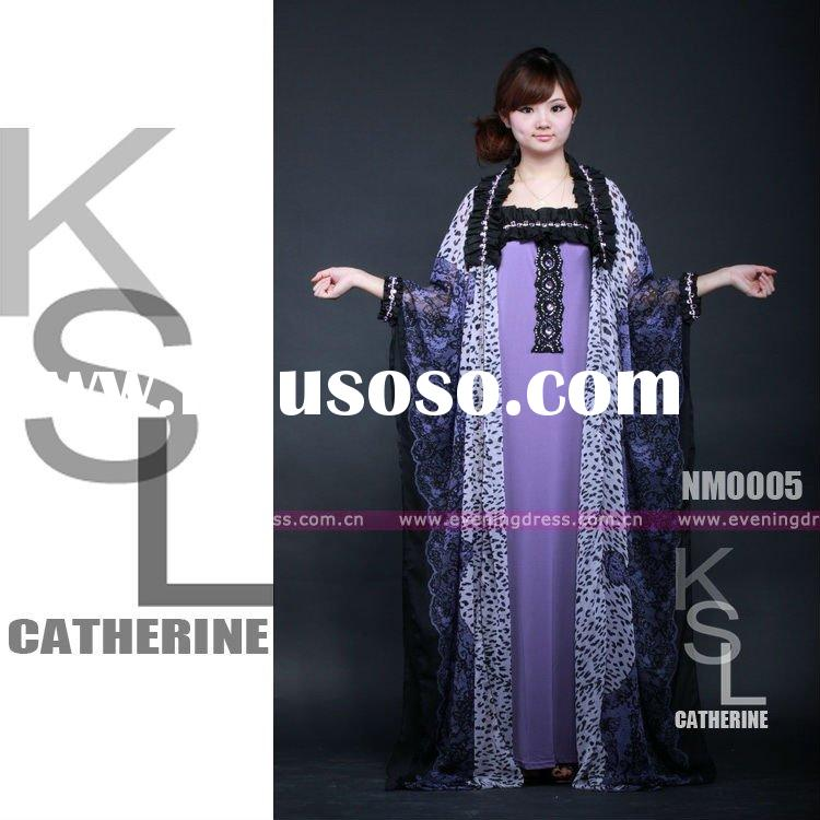 New Style Purple Fashion Black Islamic Abaya Sleeves Designs Sale Dresses 2012
