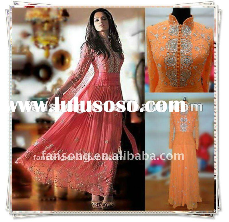 New arrival long sleeve high neck beaded muslim Evening Gown