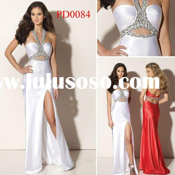 PD0084 New Design White and Red Halter Satin Formal Dress Evening Dress