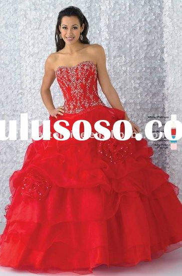 PM332 Beaded Sweetheart Organza Ball Gown Red Quinceanera Dress