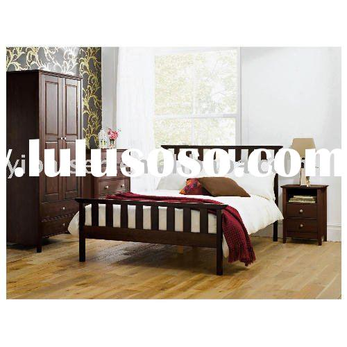 Pine single / double / kingsize bed wooden furniture bedroom furniture