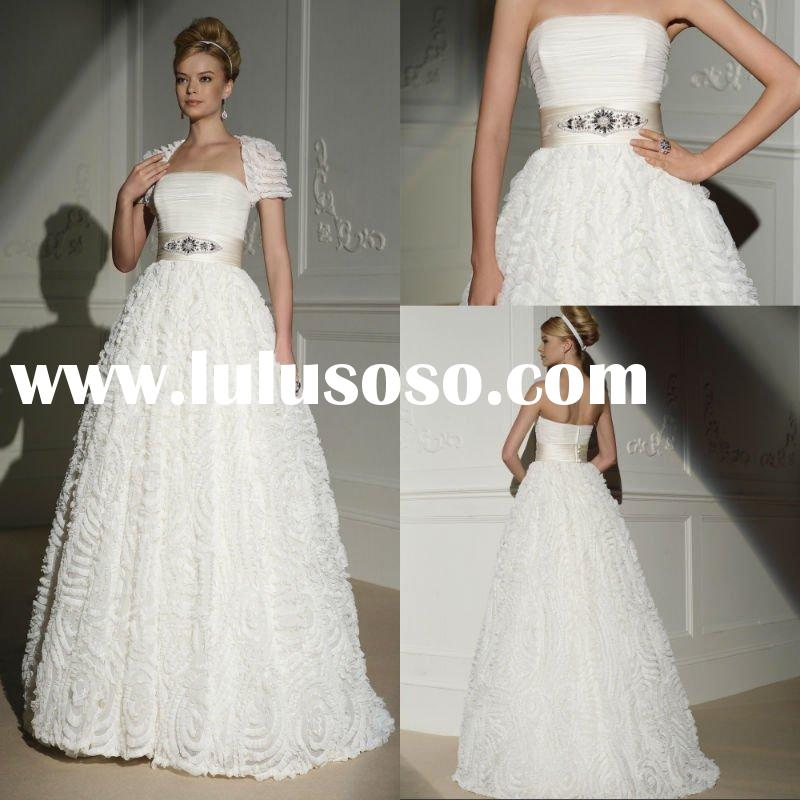 Plus Size Strapless Bridal Gowns A-line Beaded Pleated Organza Arabic 2012 Hot Sale Wedding Dresses