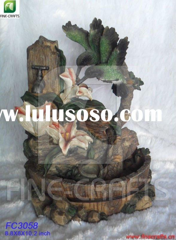 Polyresin bird tabletop water fountain