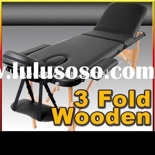 Portable Wooden 3 Fold Massage Table Chair Bed----- Black