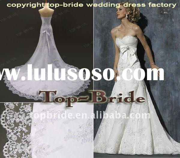 Professional OEM MAG027 Real Pictures Wholesale Satin Lace Beaded Wedding Gowns/Dresses Bridal