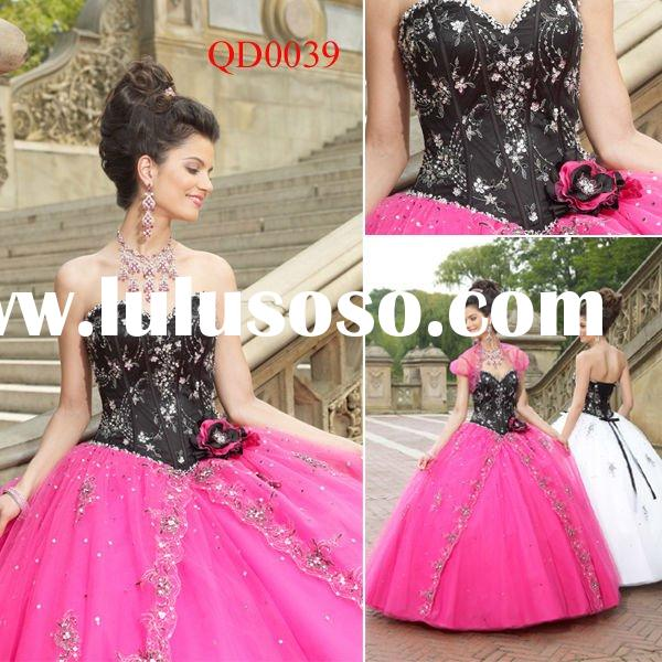 QD0039 Elegant Black and White Prom Dress Quinceanera Dresses