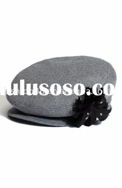 Small Order Accept Lady Beret Hats Fashion with Flower