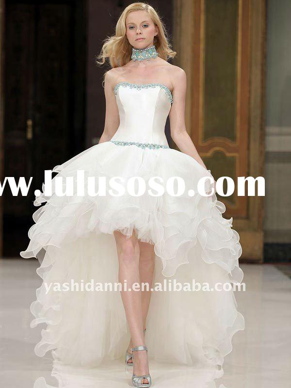 Strapless beaded ball gown front short back long wedding gown 2012