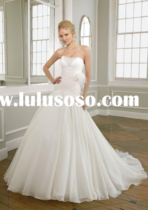 Style RZ-wd128 strapless beaded organza bridal mermaid dress pattern