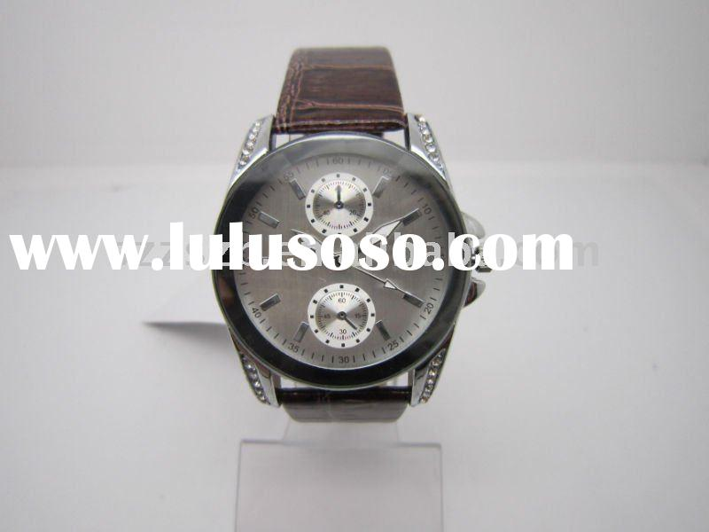 Stylish Mens Gents Leather Sport Quartz Wrist Watch Brown Band Dial Japan Movt