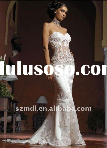 Sweet Heart Off Shoulder Lace Appliqued Satin Fishtail Transparent Body Wedding Dress 2011