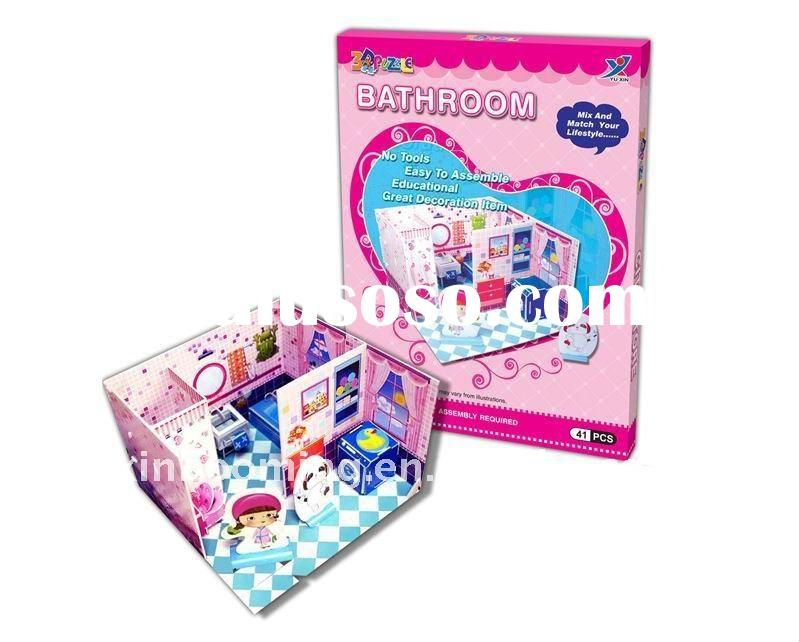 Sweet bathroom 3D sliding puzzle intelligence & educational toy decorative ornament