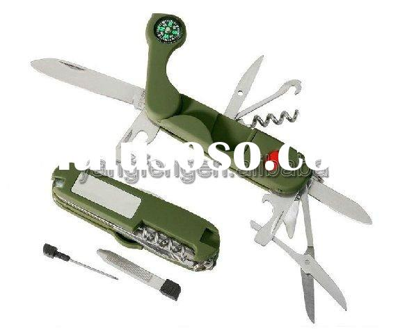 Swiss knife with compass mirror& LED Light