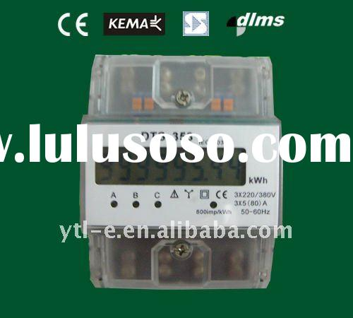 Three phase four wire Din-rail electronic kwh meter