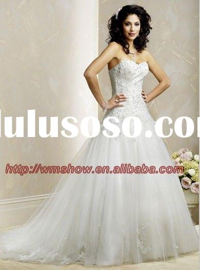 Unique Designed Organza Strapless Beaded Ballgown Lace Corset Wedding Dress Tulle