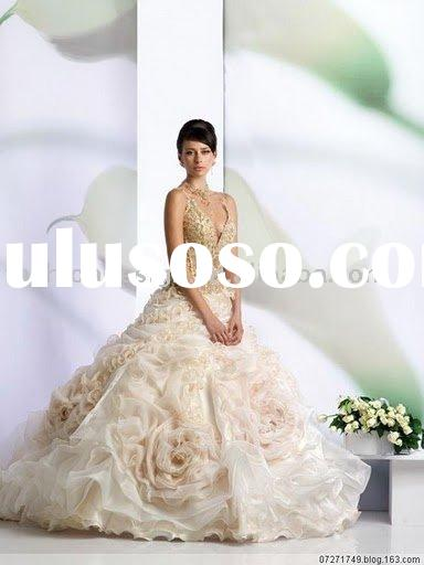 VH221 fashionable full crystal embroidery with hand-made flower wedding dresses