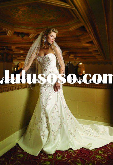 VH570 strapless full lace embroidery and crystal wedding dress