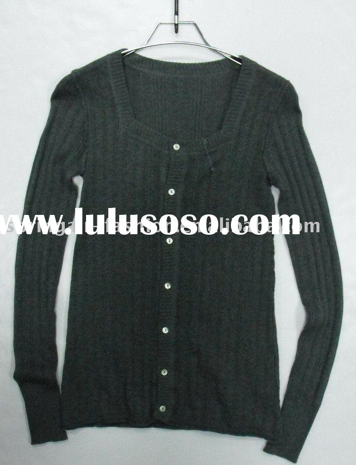 cotton rayon nylon blended fiber knitted sweater clothes for ladies'