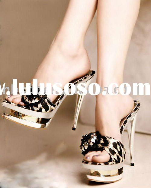 fashion women high heel slippers with double platform 2011
