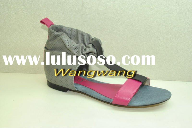 grey and pink color flat leather ladies sandal