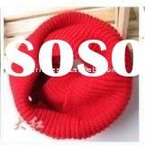 ladies fashion red knitted round neck scarf