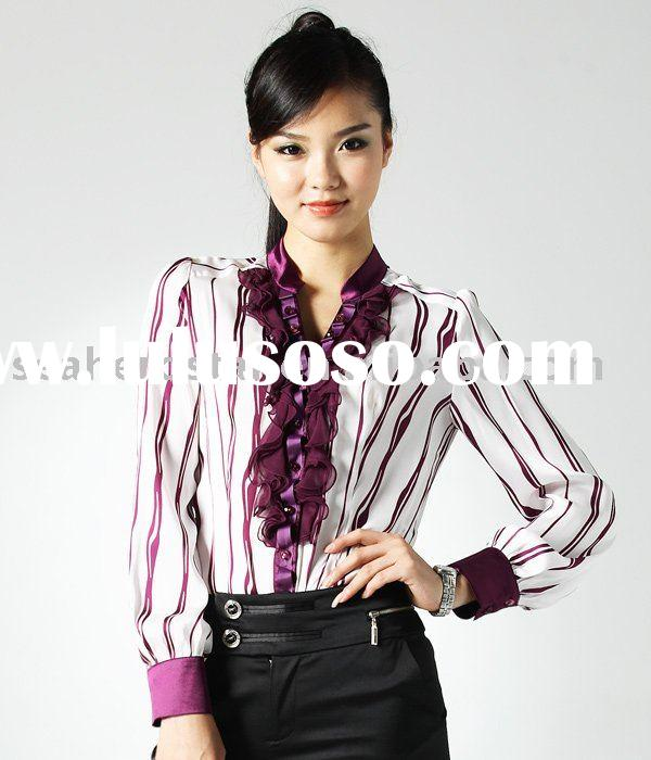 ladies satin shirts stripe print with long sleeves