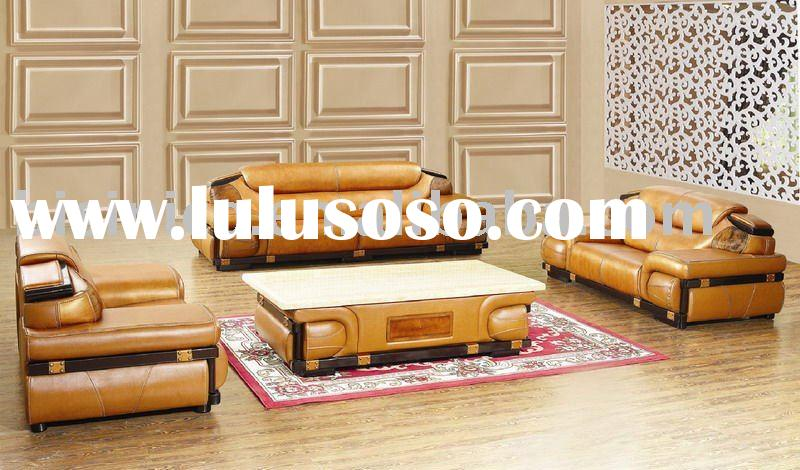 luxury and high quality noble american style genuine leather sofa set B46046