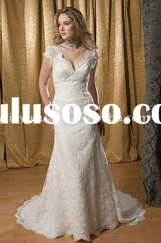 modest and grace short sleeves lace wedding dresses ASW052