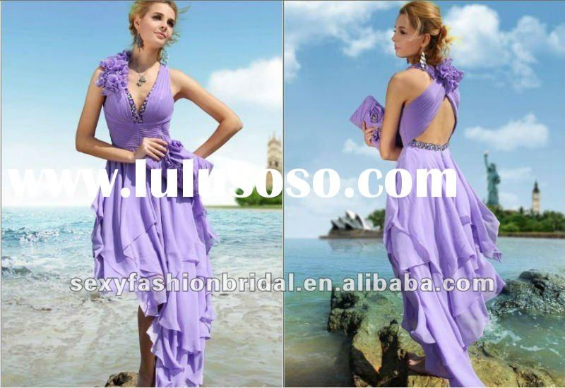 new arrival lavender halter V neck wide waist empire short front and long back prom dresses