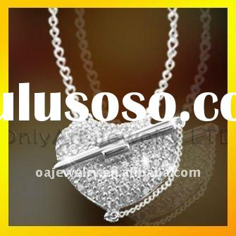 new selling long lovely fashion heart CZ 925 sterling silver necklace for women jewelry paypal