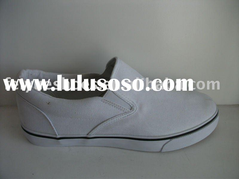 plain white slip-on casual canvas shoes
