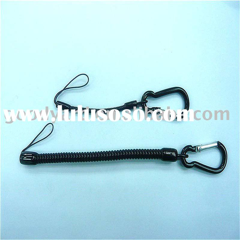 plastic spiral cord carabiner keychain/keyring/key ring