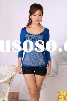 round neck cotton 1024 cheap blue casual womens clothing