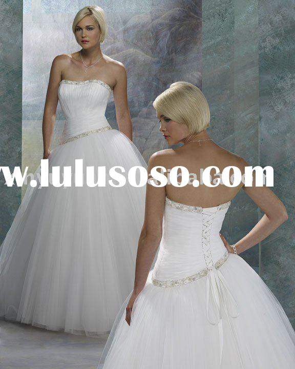 snow white princess in strapless ball gown wedding dress FOW-010