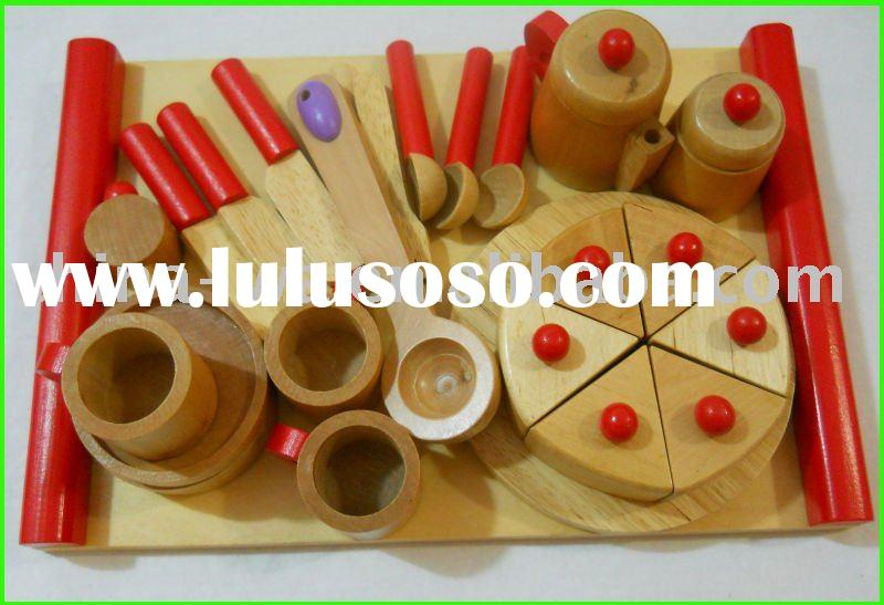 solid wood kitchen tableware sets toy for children pretend play