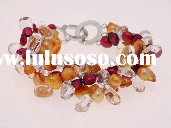 three strands twisted blister freshwater pearl bracelet BR318