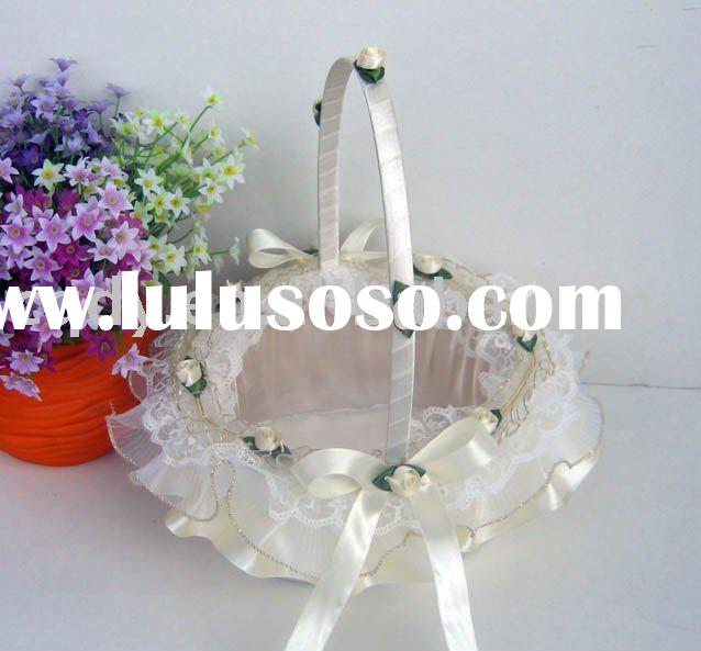 white wedding flower girl basket/wedding decoration/flower basket for wedding/wedding gift